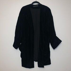 Zara Black Velvet Slouchy Blazer